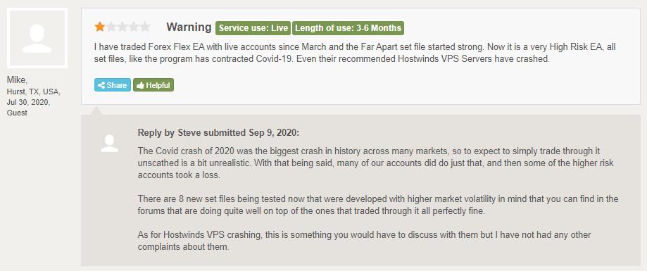 Forex Flex EA customer reviews