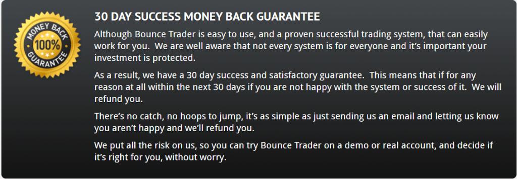 Bounce Trader money back guarantee