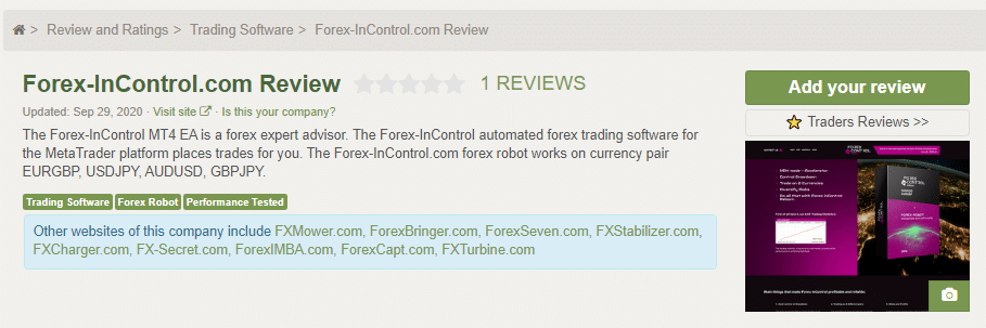 Forex inControl People's Testimonials
