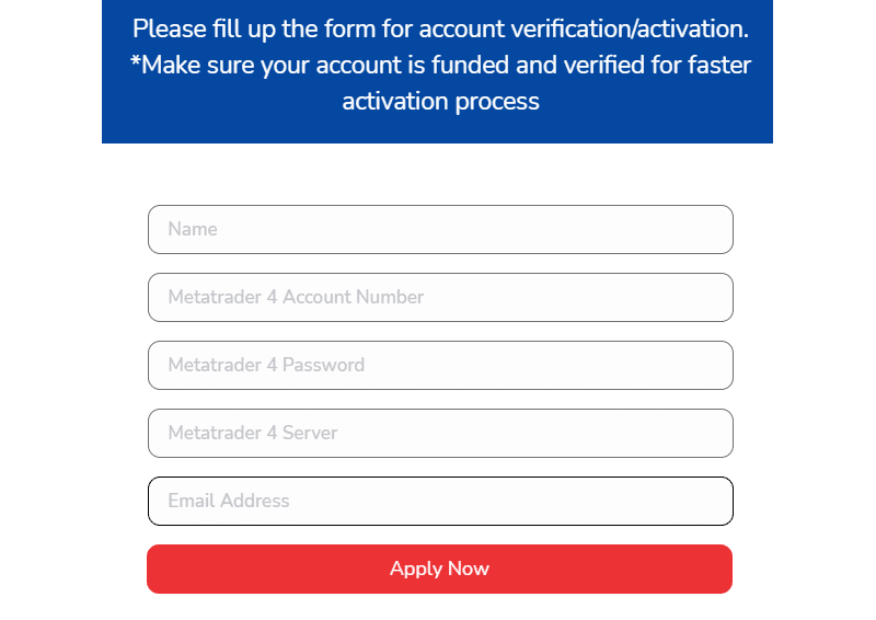 Elite Forex Scalper form for account