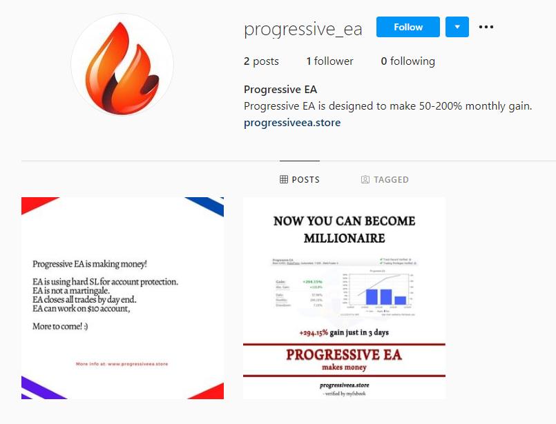 Progressive EA Instagram profile