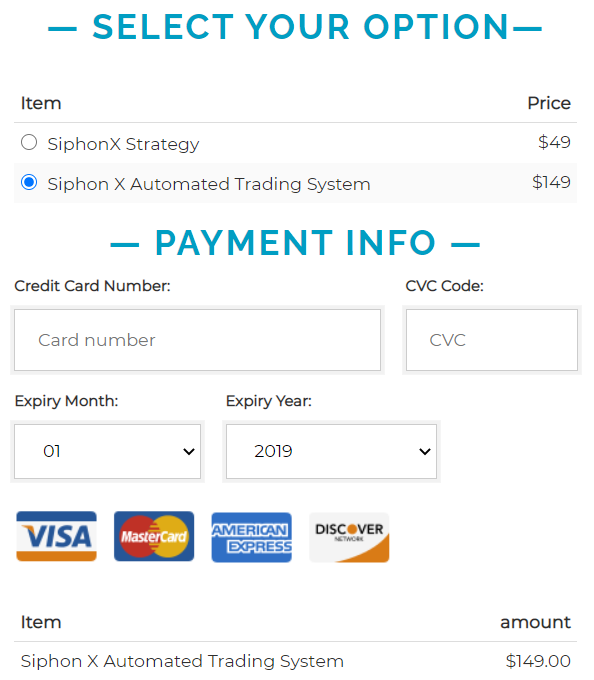 Siphon-X1 payment info
