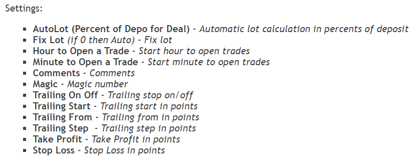 Euro Master settings