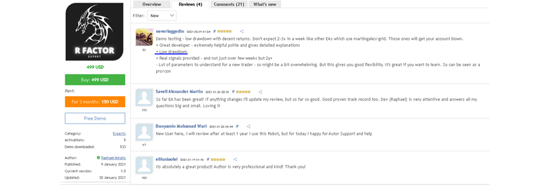 R Factor EA Customer reviews