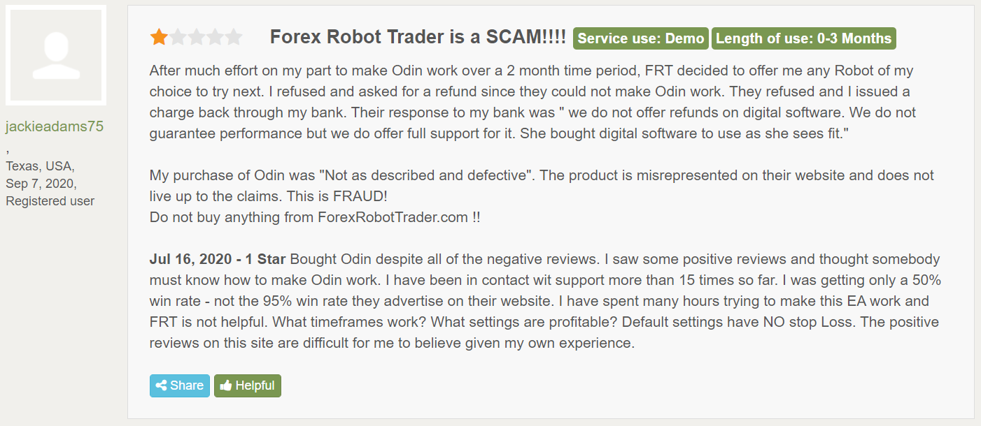 Odin Forex Robot People feedback