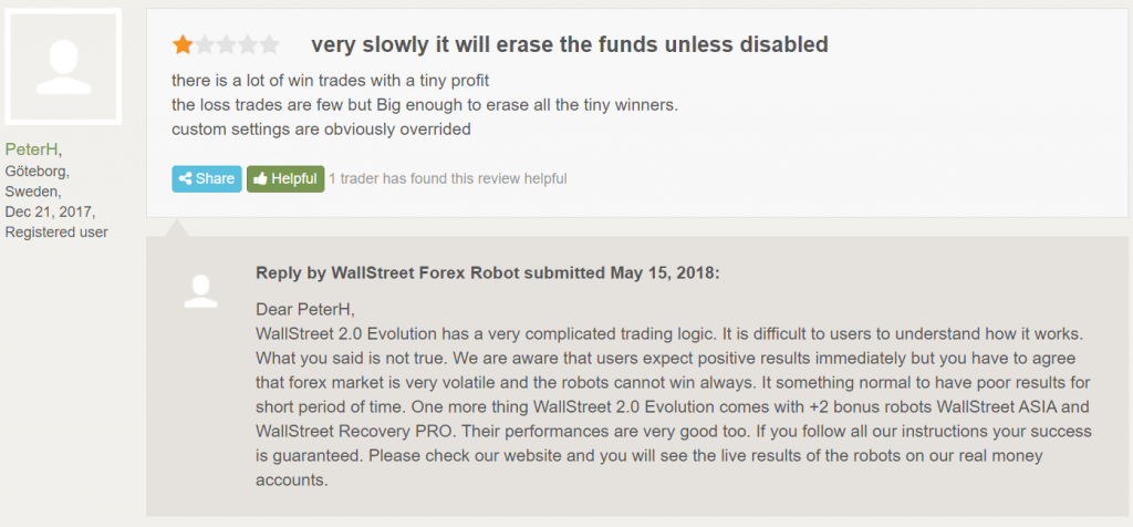 Wall Street Forex Robot People feedback