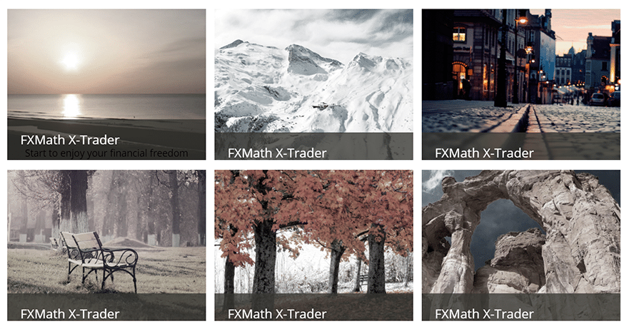 FXMath X-Trader. The site includes random pictures from the photo stock.