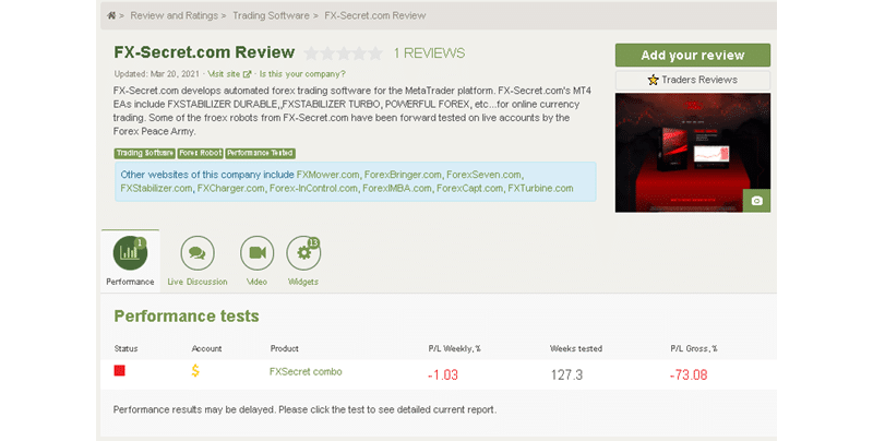 FXSecret Immortal Customer Reviews