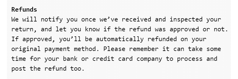 R0B0.1  - The refund policy looks weird and out of place.