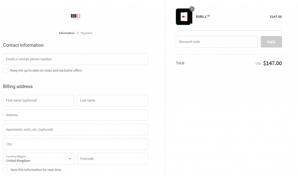 R0B0.1 - Checkout requires us to provide all our private and card information.