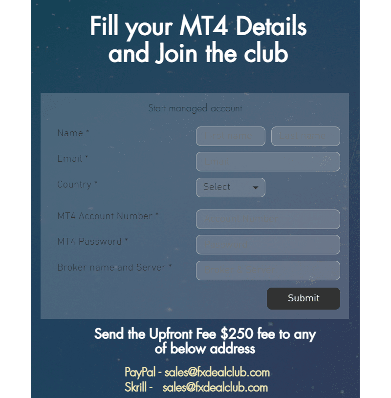 FX Deal Club. There's a registration form with a login and password.