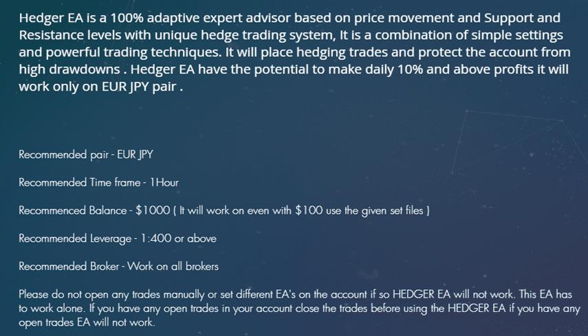 FXDC HEDGER EA Features