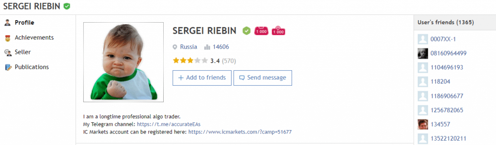 Perfect Score. Sergei Riebin has a 14606 rate and a 3.4 rate for his products.