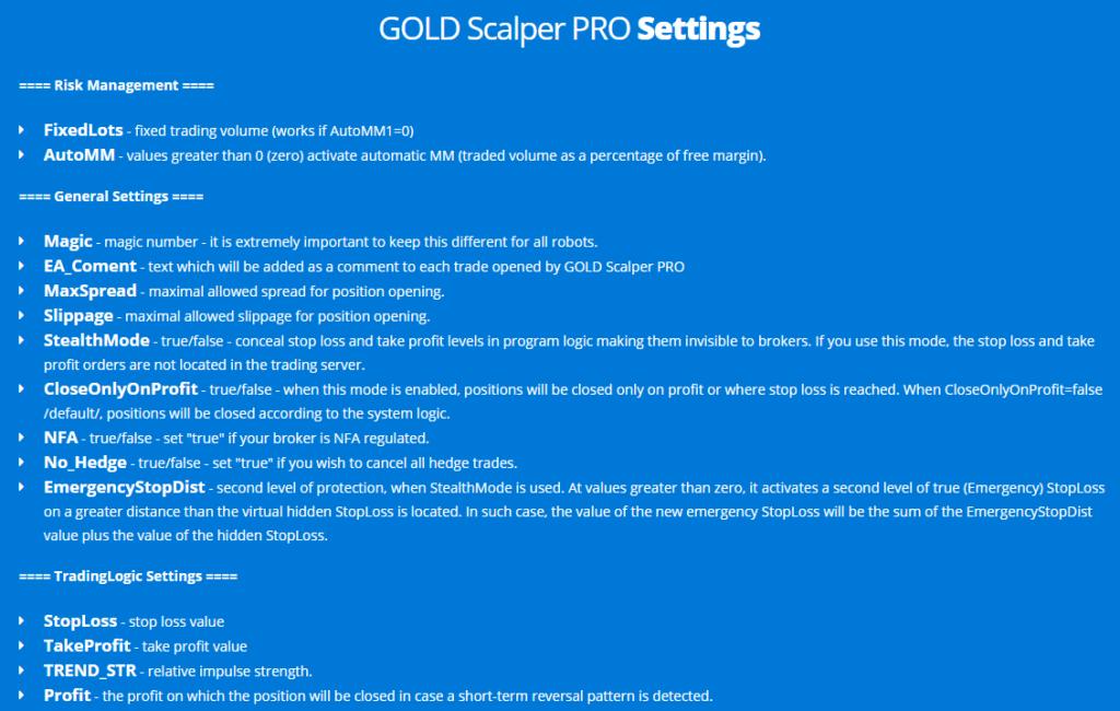 Gold Scalper Pro settings