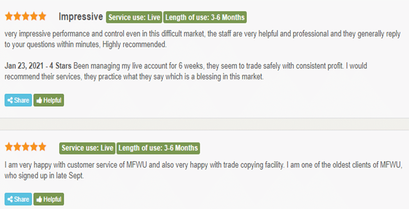MFWU (Managed Forex With Us) customer reviews