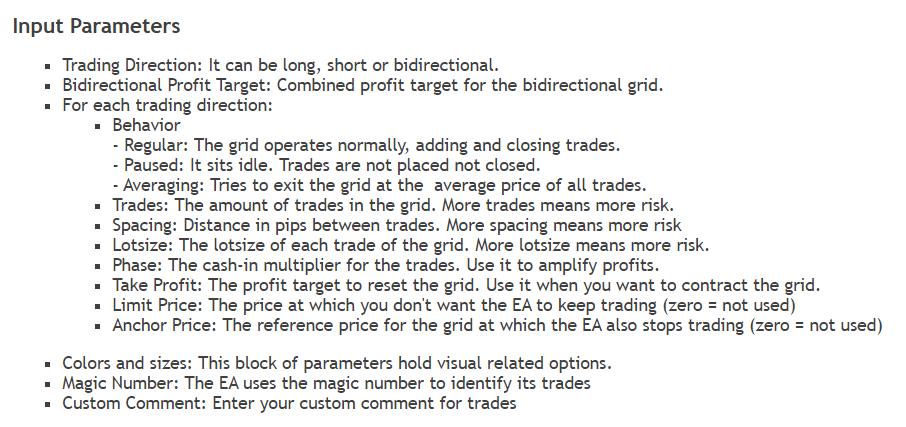 Point Zero Trading parameters