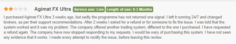 Negative customer reviews for Agimat Trading System.