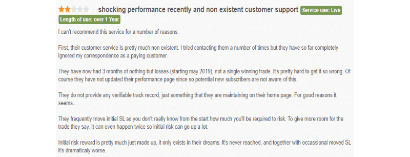 User complaining about the heavy loss and poor customer support.