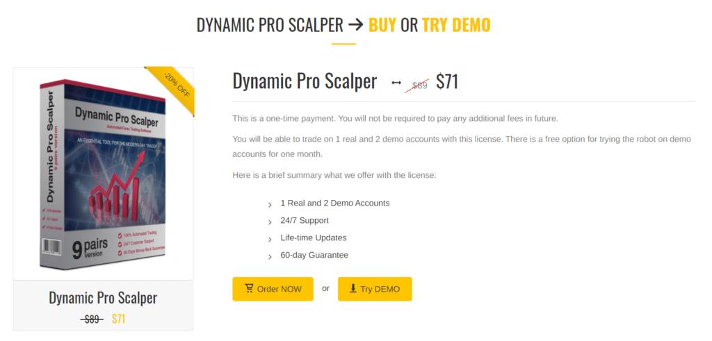 Dynamic Pro Scalper pricing.