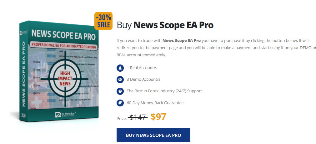 Pricing of News Scope EA Pro.