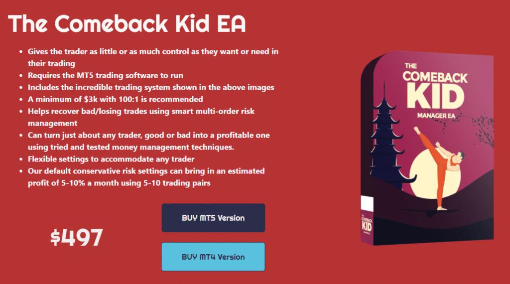 The Comeback Kid EA pricing.